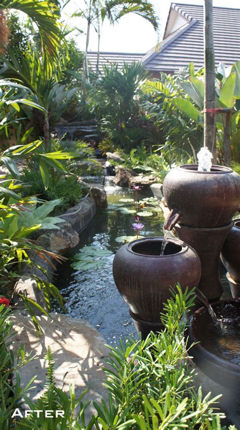 tropical waterfall garden  pattaya resident thai