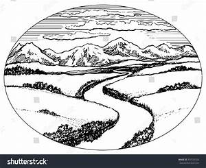 Mountain Valley Clipart Black And White - ClipartXtras