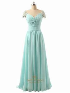 Light Green Beaded Cap Sleeve Sweetheart Neckline Chiffon ...