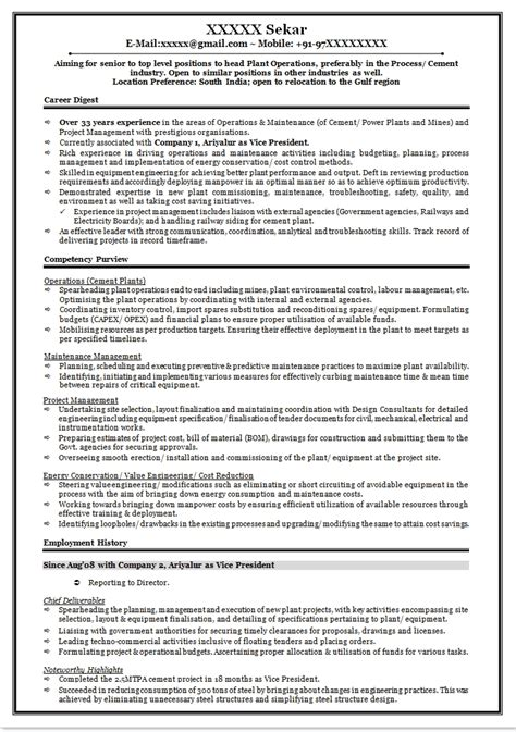 cement process engineer sle resume