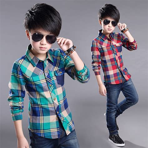 teenage clothes  boys long sleeve red green plaid