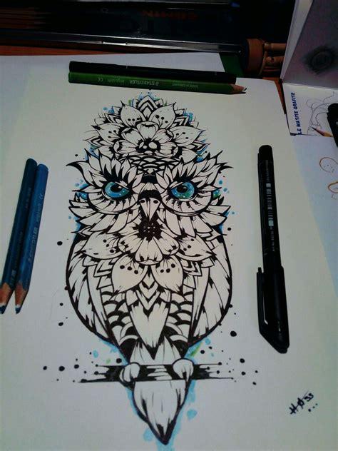 chouette mandala tattoo tatouage hiboux tatouage