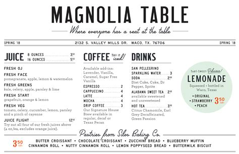 Restaurant Table Menu an inside look at chip and joanna gaines magnolia table menu