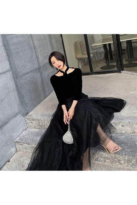 Retro Simple Long Black Tulle With Velvet Party Dress Long