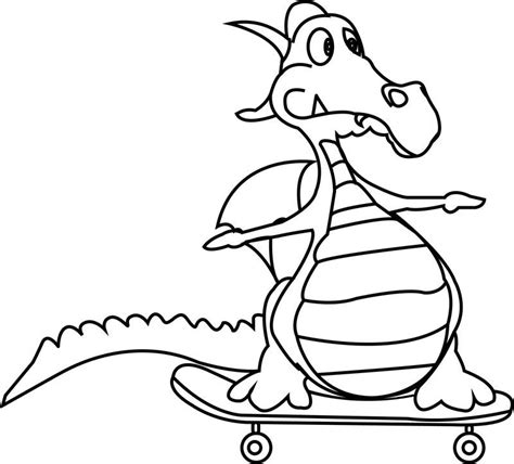 Cartoon Dragon Very Funny Coloring Page Also see the
