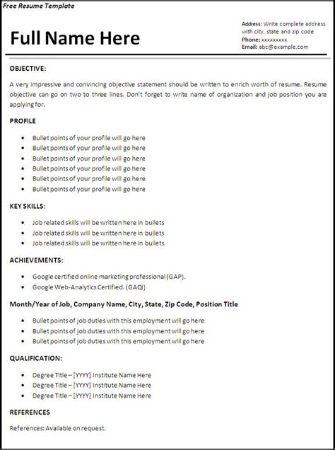 work resume samples job resume template free word 39 s templates
