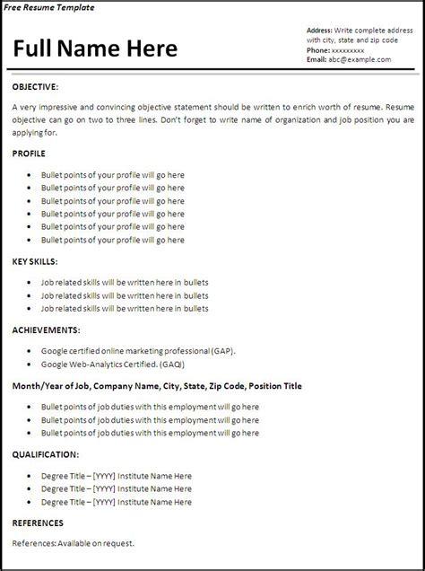job resume templates   printable ms word formats