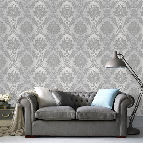 Silver Effect Silk Wallpaper   Departments   DIY at B&Q