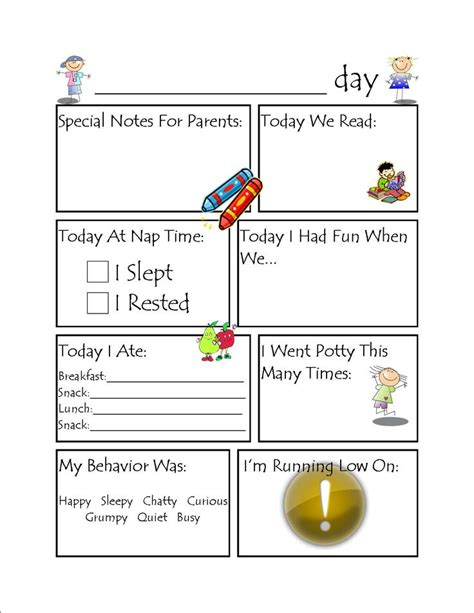29 images of day care classroom template leseriail 114 | toddler daycare daily report 226495