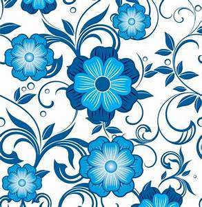 Bold Blue Floral Seamless Vector Pattern - WeLoveSoLo
