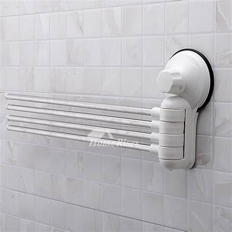white towel rack suction cup swing arm  poles