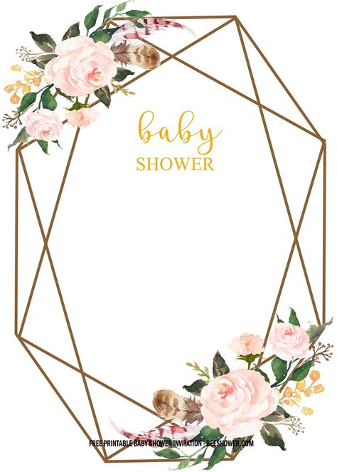 FREE Floral Baby Shower Invitation Templates Vintage