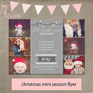 christmas holiday lights mini session flyer tree grey simple
