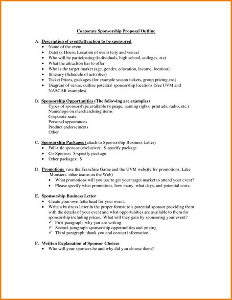 proposal template sample business sponsorship letter