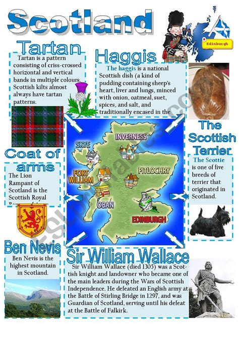 scotland poster  esl worksheet  diana