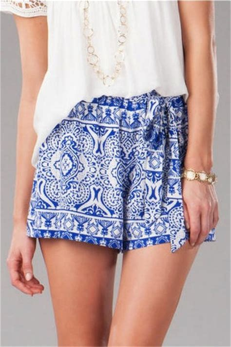 Shorts clothes blue greek white print pattern vacation polyester chic streetstyle ...