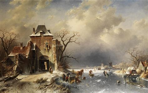 Shower Curtains Canada Online by Dutch Winter Landscape Painting By Charles Leickert