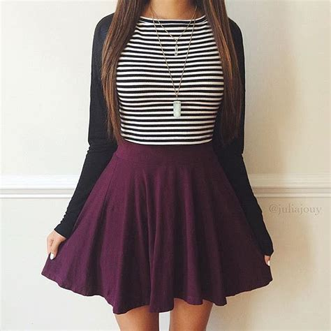 Cute Outfit With Black Skater Skirt