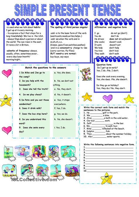 present simple tense worksheet kindergarten level