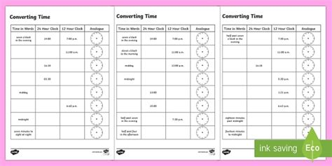 converting time worksheet activity sheets time 12