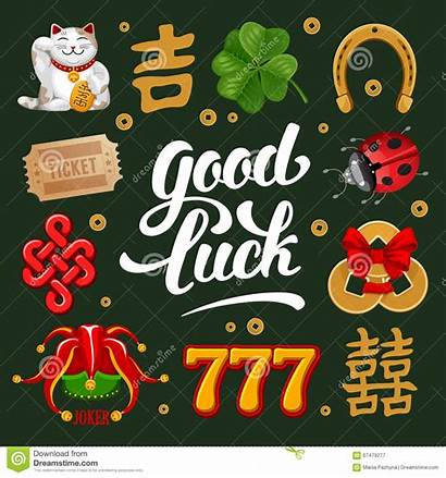 Luck Lucky Symbols Charms Talismans Vector Calligraphy