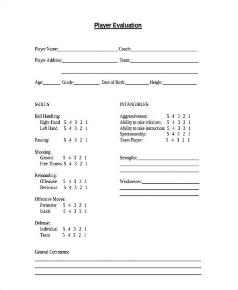 basketball evaluation form 10 free documents in word pdf