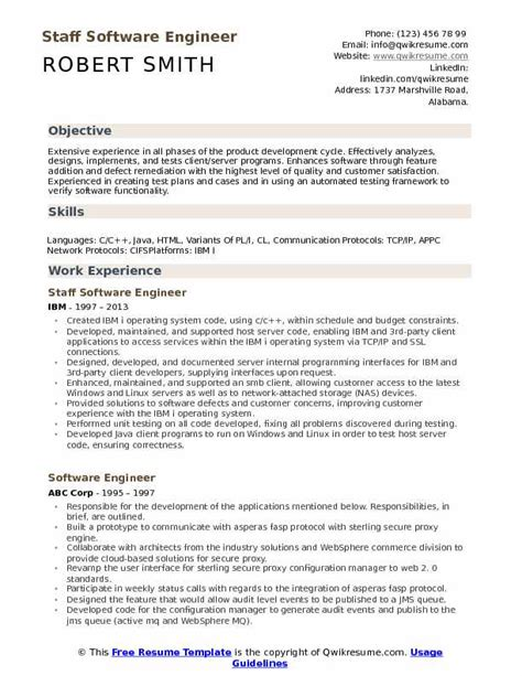 Software Engineering Resume by Staff Software Engineer Resume Sles Qwikresume