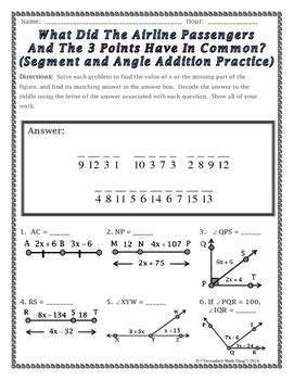 Segment Addition And Angle Addition Postulates Riddle Worksheet Tpt