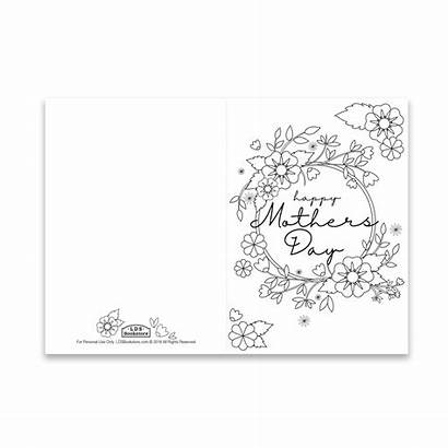Coloring Flowers Spring Mother Printable Card Cards
