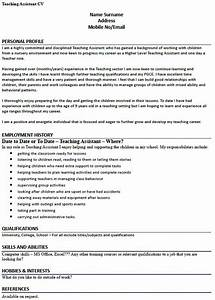Cover Letter Name Example Cv Example For A Teaching Assistant Lettercv Com