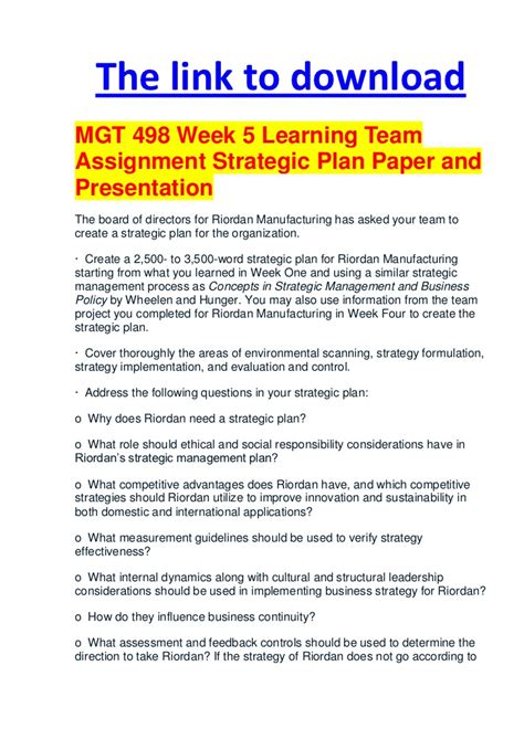 mgt 498 week 5 learning team assignment strategic plan