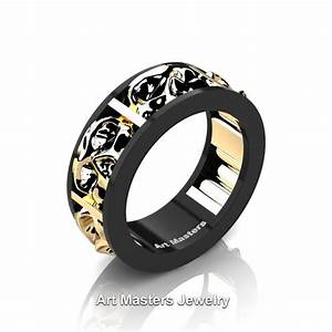 mens modern 14k black and yellow gold skull channel With mens skull wedding rings
