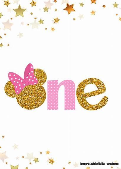 Minnie Mouse Pink Gold Invitation Birthday 1st