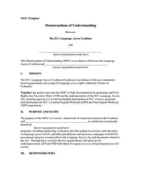basic memorandum of understanding template 10 best images of exle memorandum of understanding