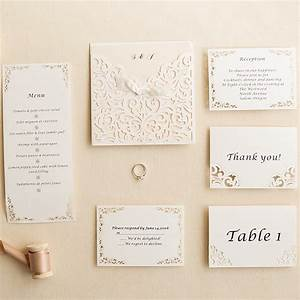 ivory laser cut pocket ribon bow invites with matching With wedding invitation pocket enclosures