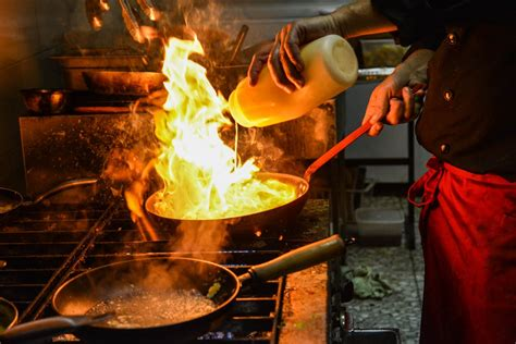 cfire cooking free images restaurant food cooking plate seafood fire cfire cuisine chef cook