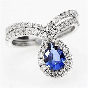 Blue sapphire peare shaped diamond wedding engagement ring for Gemstone wedding ring sets