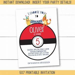 Instant download editable pokemon birthday party invitation for Instant download invitations