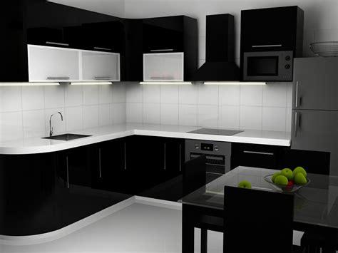 黑白简约厨房装修效果图 黑色橱柜效果图 土巴兔装修效果图