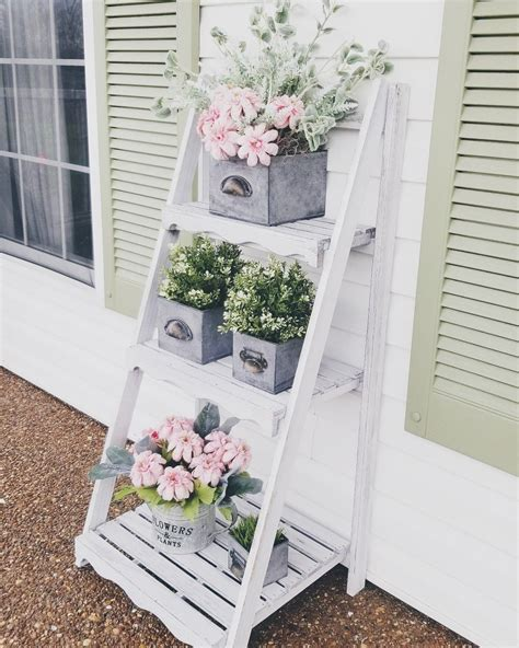Outdoor Ladder Spring Summer Plants Faux Plants Farm House