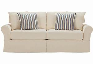 Cindy crawford home beachside natural denim sofa isofa for Cindy crawford furniture replacement slipcovers