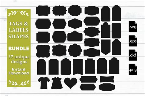 I will purchase more from here because while sure you can import a shape after drawing it or finding free ones online but then. Tags, Labels and Shapes Bundle - SVG, EPS, DXF, PNG ...