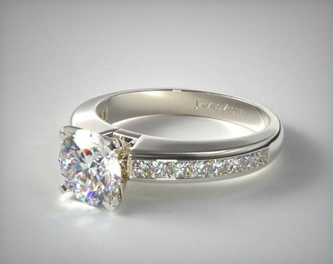 0 60ct channel princess shaped engagement ring 14k white gold 1217w14