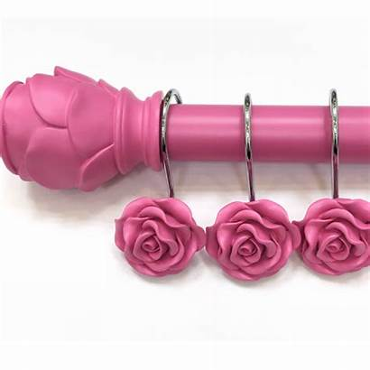 Pink Rose Curtain Shower Hook Decor Shabby