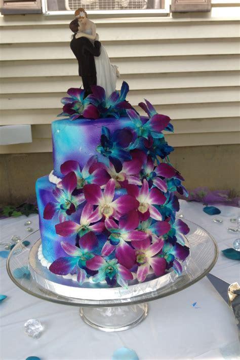 purple  blue orchids wedding