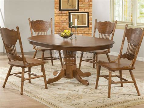 dining room table 4 chairs oak round dining table set for 4