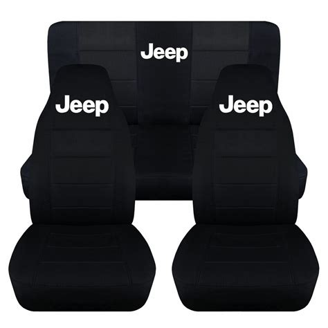 front  rear black jeep seat covers fit   jeep