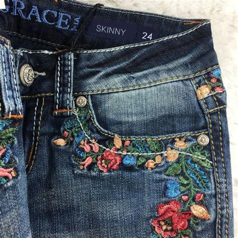 grace  la skinny rose garden embroidered jeans
