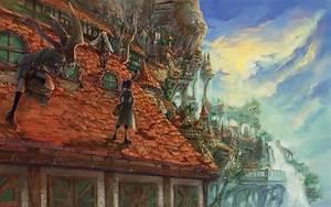 Fantasy, Art, Rooftops, Waterfall, Wallpapers, Hd, Desktop