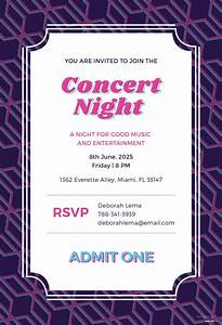 Create A Birthday Invitation For Free Free Concert Ticket Invitation Template In Adobe Photoshop
